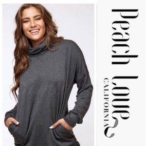 Charcoal Long Sleeve High Neck Top